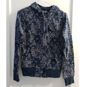 Lucky Brand Paisley Print Hoodie Sweatshirt Zip S